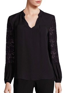 Elie Tahari Embroidered Lace Silk Top