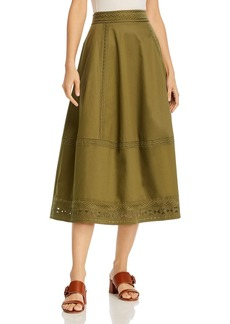 Elie Tahari Embroidered Midi Skirt