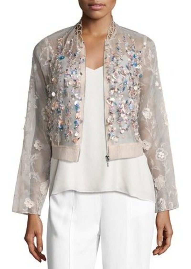 Elie Tahari Embroidered Silk Organza Jacket