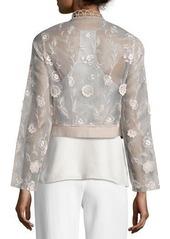 Elie Tahari Embroidered Silk Organza Jacket