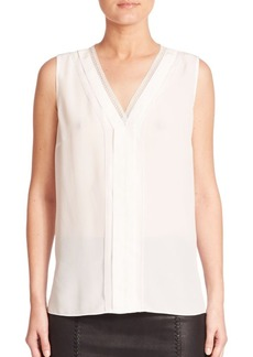 Elie Tahari Emi Silk Pleated Blouse