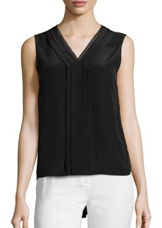 Elie Tahari Emi Sleeveless V-Neck Silk Blouse