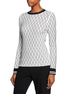 Elie Tahari Emile Wave-Stripe Long-Sleeve Sweater w/ Contrast Trim