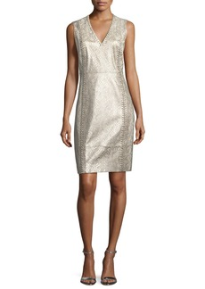 Elie Tahari Emily Metallic Lace-Up Dress