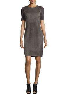 Elie Tahari Emily Short-Sleeve Suede Sheath Dress