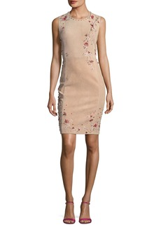Elie Tahari Emily Sleeveless Suede Floral Applique Dress