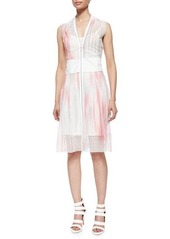 Tahari Woman Emma Zip-Front Perforated Dress