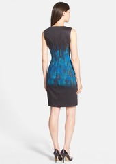 Elie Tahari 'Emory' Placed Print Sateen Sheath Dress