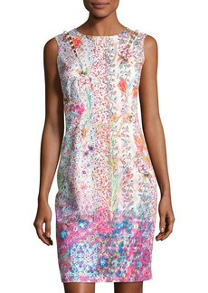 Elie Tahari Emory Sleeveless Embellished Floral Sheath Dress