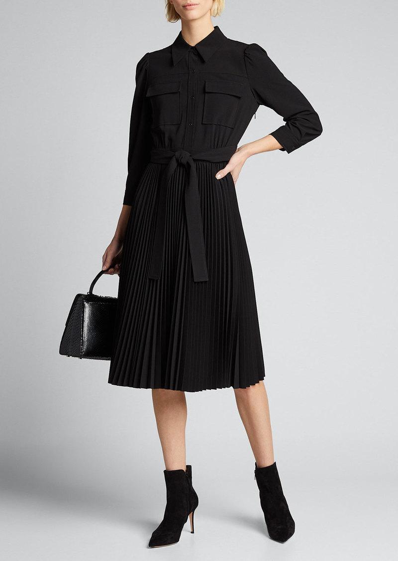 Elie Tahari Ere 3/4-Sleeve Pleated Skirt Shirtdress
