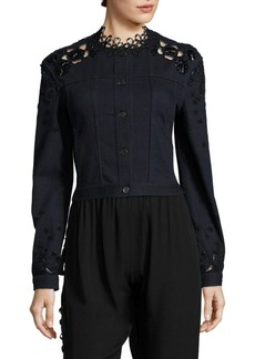 Elie Tahari Esperanza Embellished Denim & Lace Jacket