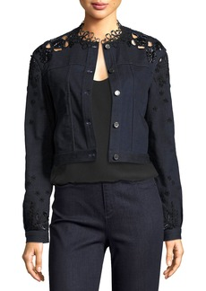 Elie Tahari Esperanza Embroidered Lace-Back Denim Jacket