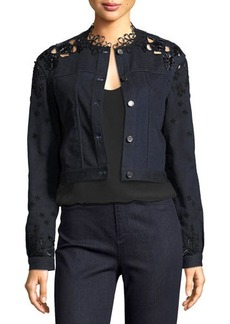 Elie Tahari Esperanza Embroidered Lace-Back Denim Jacket