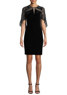 Elie Tahari Essence Velvet Dress with Chiffon Sleeves