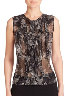Elie Tahari Estella Ruffled Silk Blouse