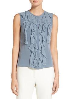 Elie Tahari 'Estella' Sleeveless Ruffle Front Silk Blouse