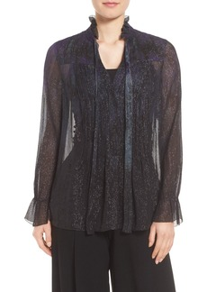 Elie Tahari Everette Metallic Silk Blend Blouse