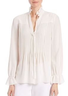 Elie Tahari Everette Silk Pleated Blouse