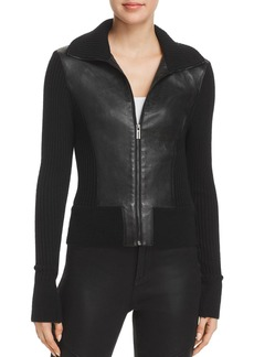 Elie Tahari Evita Leather Combo Jacket