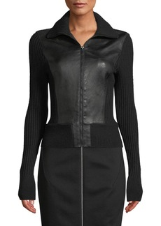 Elie Tahari Evita Zip-Front Leather & Ribbed Wool Jacket