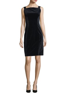 Elie Tahari Evra Square-Neck Velvet Dress w/ Leather Shoulder Straps