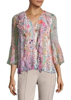 Elie Tahari Faith Floral-Print Ruffle Silk Blouse