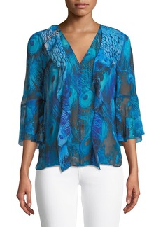 Elie Tahari Faith V-Neck Silk Blouse