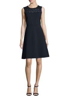 Elie Tahari Fallon Sleeveless Lace-Yoke A-Line Dress