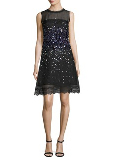 Elie Tahari Fatimah Sleeveless Silk Ombre Sequin Cocktail Dress