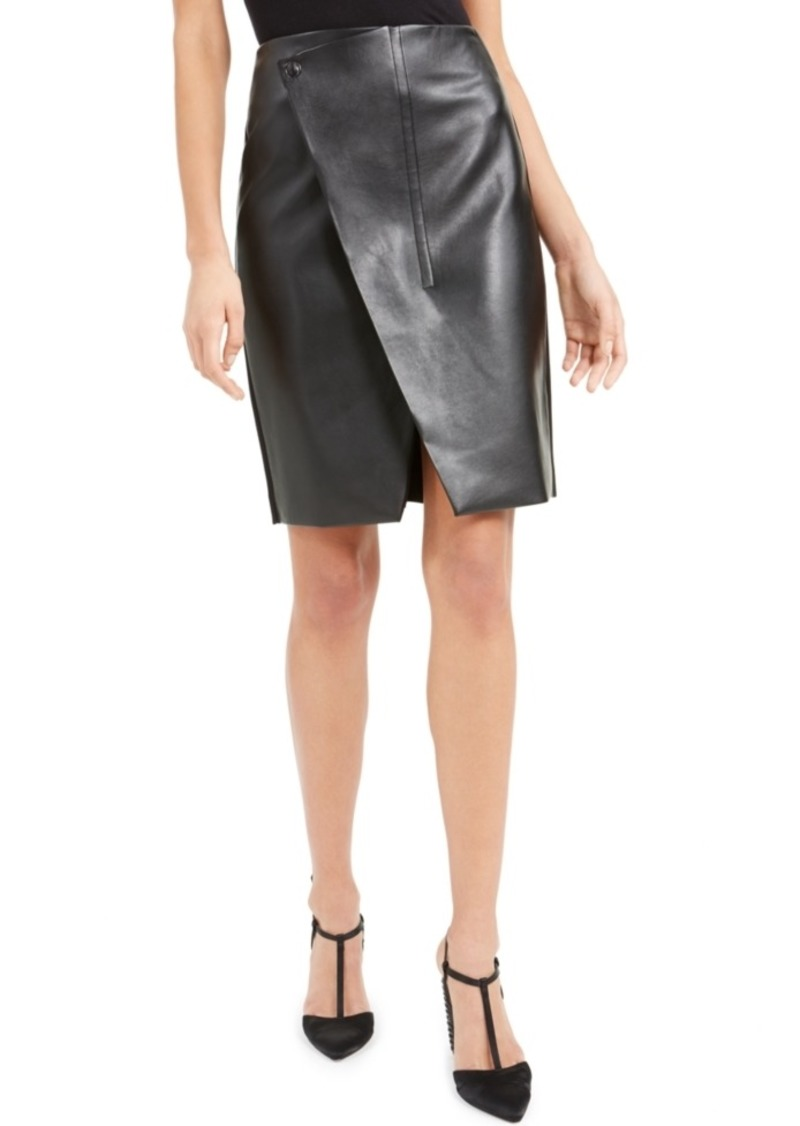 Elie Tahari Faux-Leather Wrap Skirt