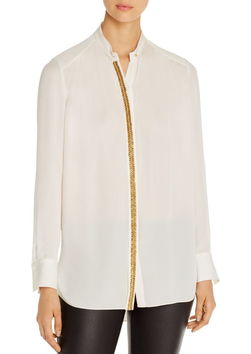 Elie Tahari Felice Beaded-Trim Silk Blouse