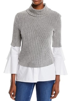 Elie Tahari Fitz Short-Sleeve Turtleneck Sweater