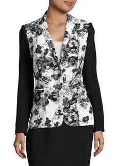 Elie Tahari Floral Contrast Jacket