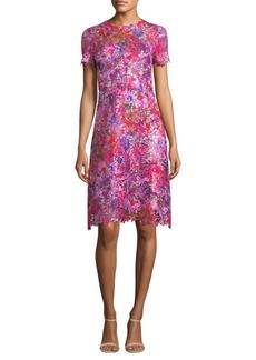 Elie Tahari Floral Lace A-Line Dress
