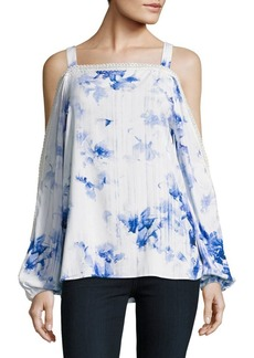 Elie Tahari Floral Print Cold Shoulder Juliette Blouse