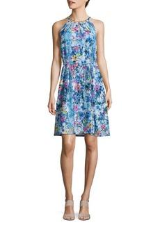 Elie Tahari Floral Print Halterneck Dress