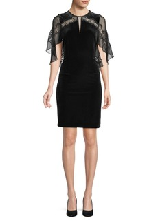 Elie Tahari Silk-Blend Flutter Sleeve Sheath Dress