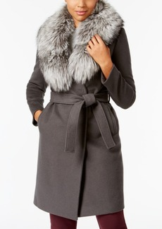 Elie Tahari Fox-Fur-Trim Wrap Coat