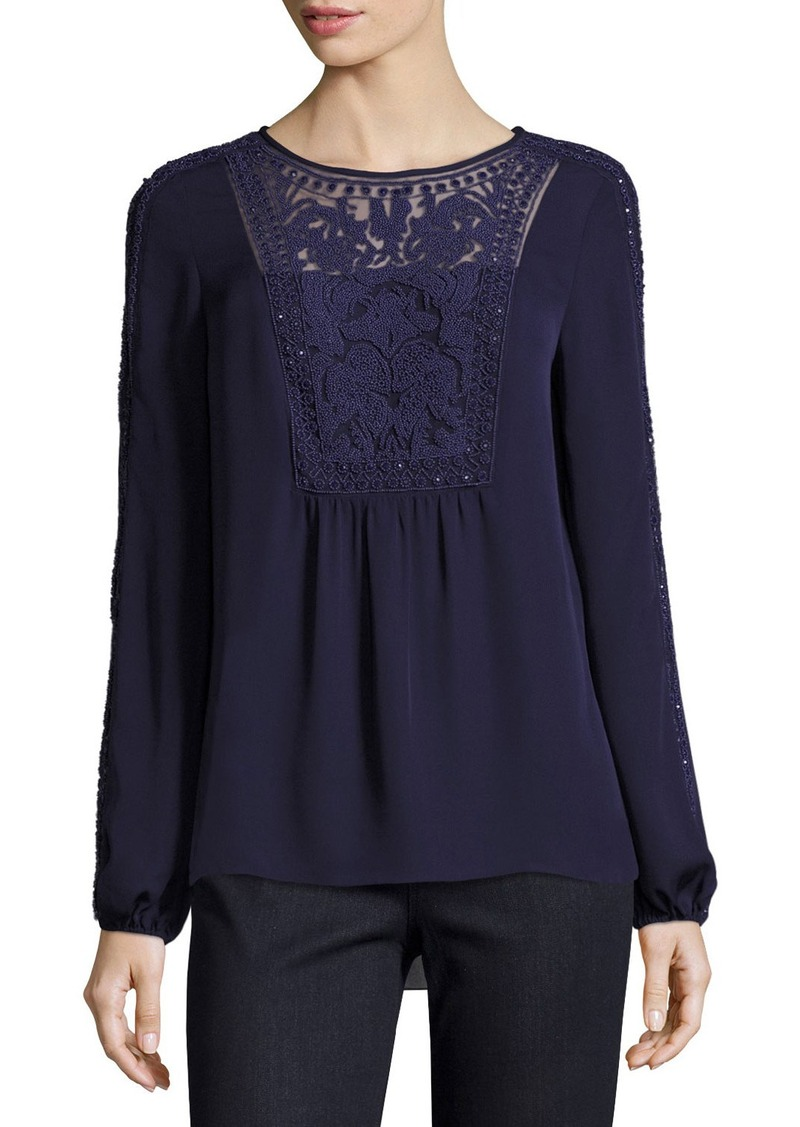 629ea2ea1a330 Elie Tahari Elie Tahari Franca Long-Sleeve Beaded Silk Blouse Now ...