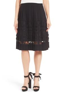 Elie Tahari Frances Lace Inset Pleated Skirt