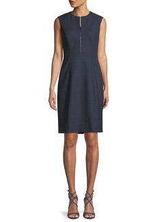 Elie Tahari Galiena Zip-Front Sleeveless Tonal Plaid Sheath Dress