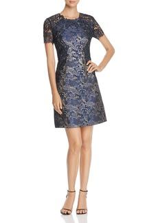 Elie Tahari Galina Floral Lace Metallic Jacquard Dress