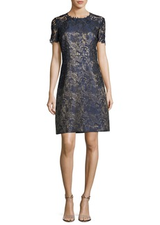 Elie Tahari Galina Metallic Jacquard Shift Dress