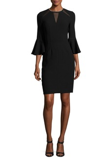 Elie Tahari Garcia Bell-Sleeve Sheath Dress w/ Mesh Inserts