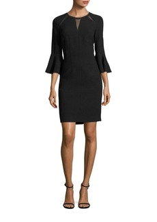 Elie Tahari Garcia Bell-Sleeve Embellished Sheath Dress