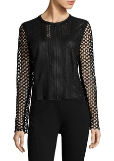Elie Tahari Gavin Crochet & Leather Jacket