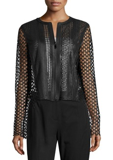 Elie Tahari Gavin Lace-Trim Leather Jacket