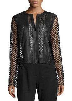 Elie Tahari Gavin Lace-Trim Leather Jacket