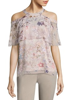Elie Tahari Genevieve Burnout Cold-Shoulder Blouse