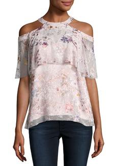Elie Tahari Genevieve Embellished Floral Silk Popover Blouse